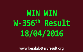 WIN WIN W 356 Lottery Result 18-4-2016