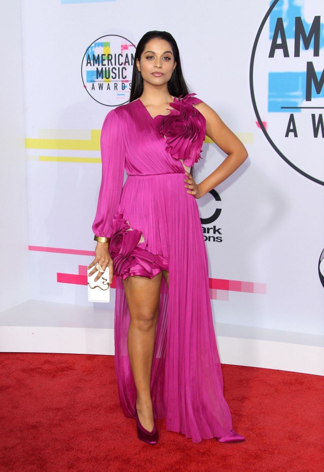 Photos of Canadian YouTuber Lilly Singh at American Music Awards 2017 at Microsoft Theater in Los Angeles