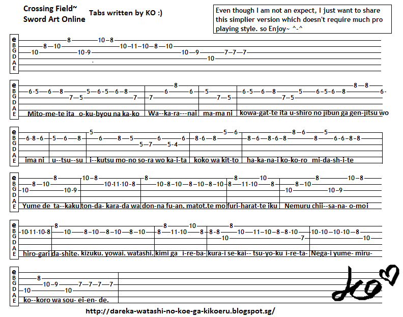 Anime Guitar Tabs: Tabs for Crossing Field - Sword Art Online