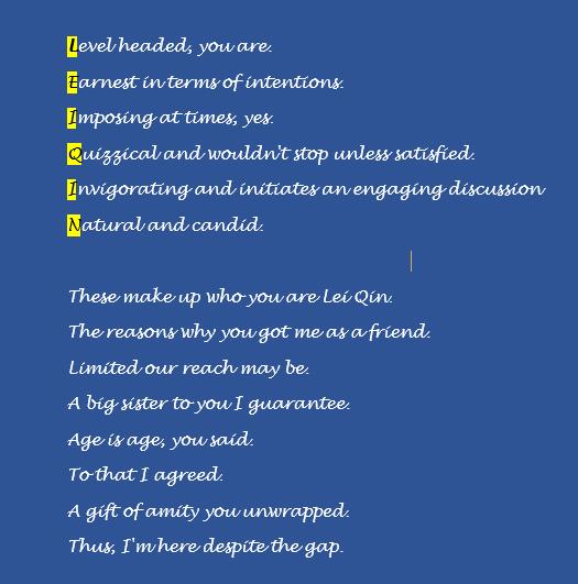 Jem Shares Lei Qin Acrostic Poem