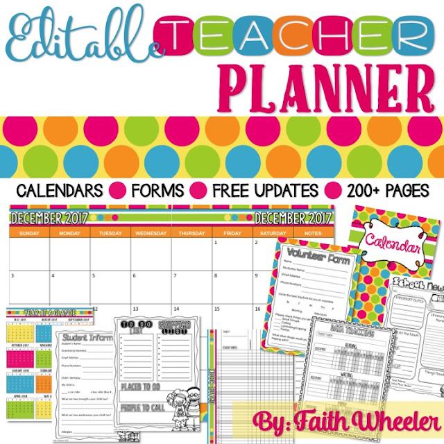 teacher planners faith wheeler education