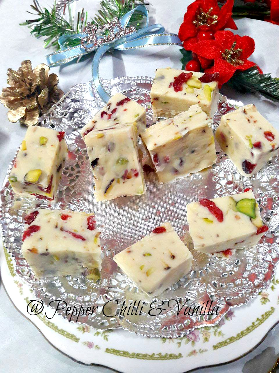 white chocolate and cranberry fudge condensed milk