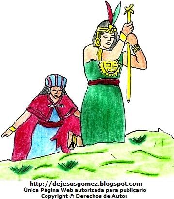 Dibujo de Manco Cápac y Mama Ocllo para niños  (Manco Cápac hudiendo su bastón de oro). Dibujo de Manco Cápac y Mama Ocllo hecho por Jesus Gómez