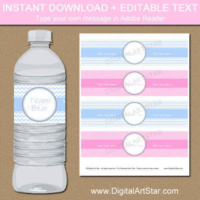 pink or blue gender reveal water bottle labels printable with editable text