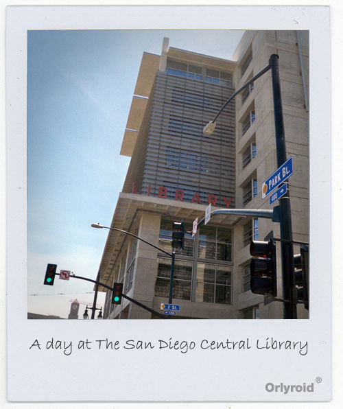 Photograph in a Polaroid format of the San Diego Central Library