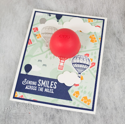 Hot Air Balloon Lip Balm EOS gift  - made using Stampin' Up Lift Me Up Stamps and Up & Away Thinlets