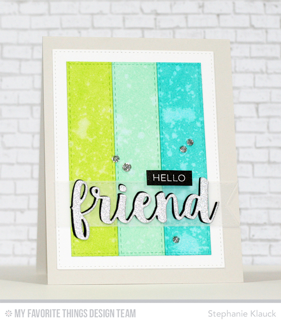 Hello Friend Card by Stephanie Klauck featuring the Label Maker Love stamp set and the Friends, Stitched Fishtail Flag STAX, Stitched Rectangle STAX, and Blueprints 20 Die-namics #mftstamps