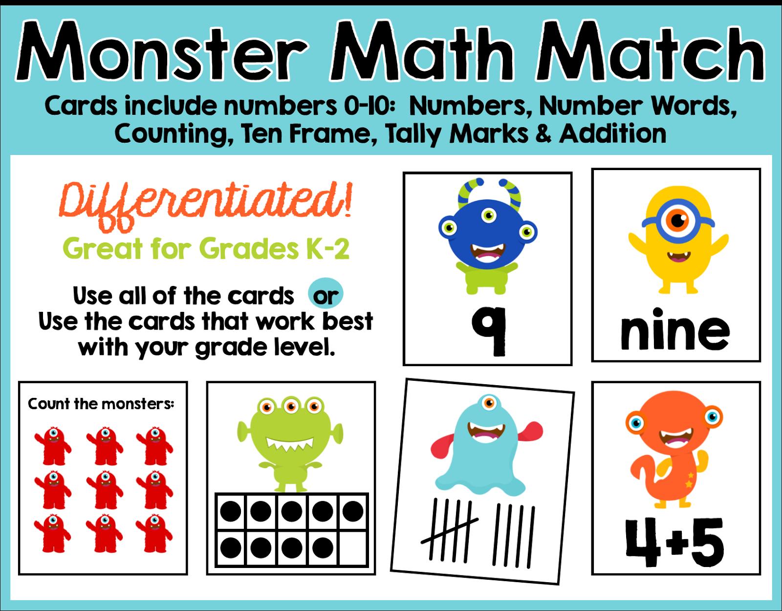 Working On My Next Follower Freebie Monster Math Match