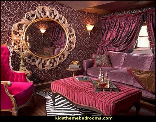 French bordello Boudoir style Victorian   Moulin Rouge Victorian Boudoir style bedroom decorating ideas - Moulin Rouge style bedroom ideas - boudoir themed decor - Moulin Rouge decor ideas -  French boudoir themed bedrooms - sexy themed bedroom decorating ideas - boudoir furniture - bordello bedrooms - Romantic style bedrooms - French Victorian boudoir - feathery lamps