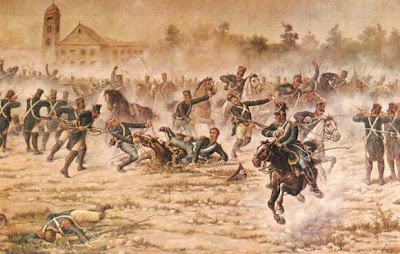 Imagen del Combate de San Lorenzo en plena lucha