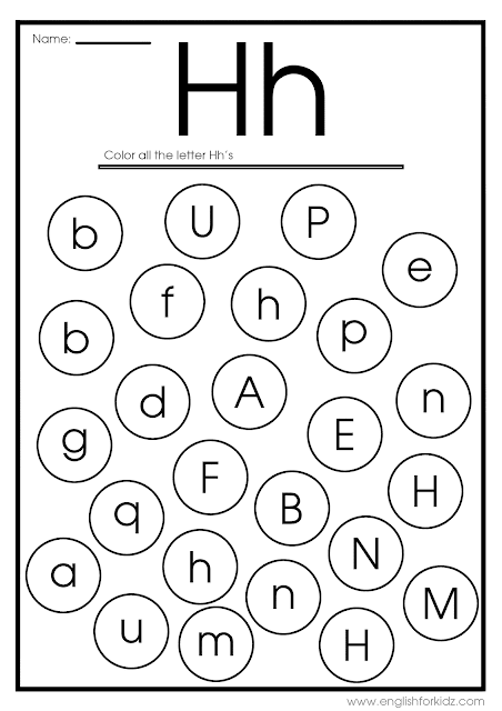 Find letter h worksheet -- printable ESL materials to teach English alphabet