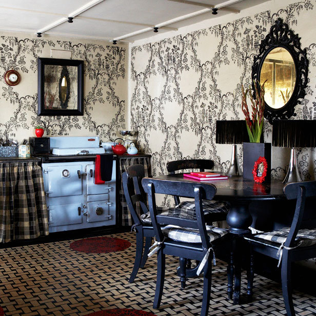 Love This Wallpapered Bohemian Kitchen Love The Black Furniture Too