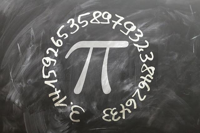 pi symbol value on black borad in white