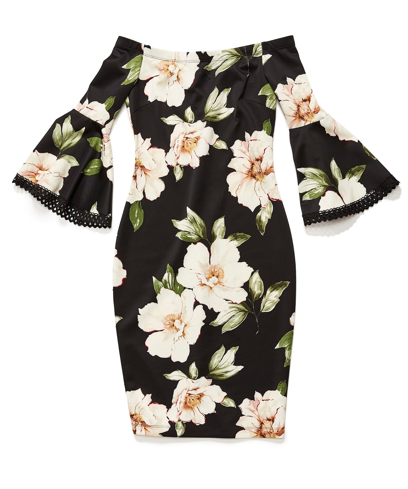 Premier Amour Elbow Bell Sleeve Floral Sheath Dress