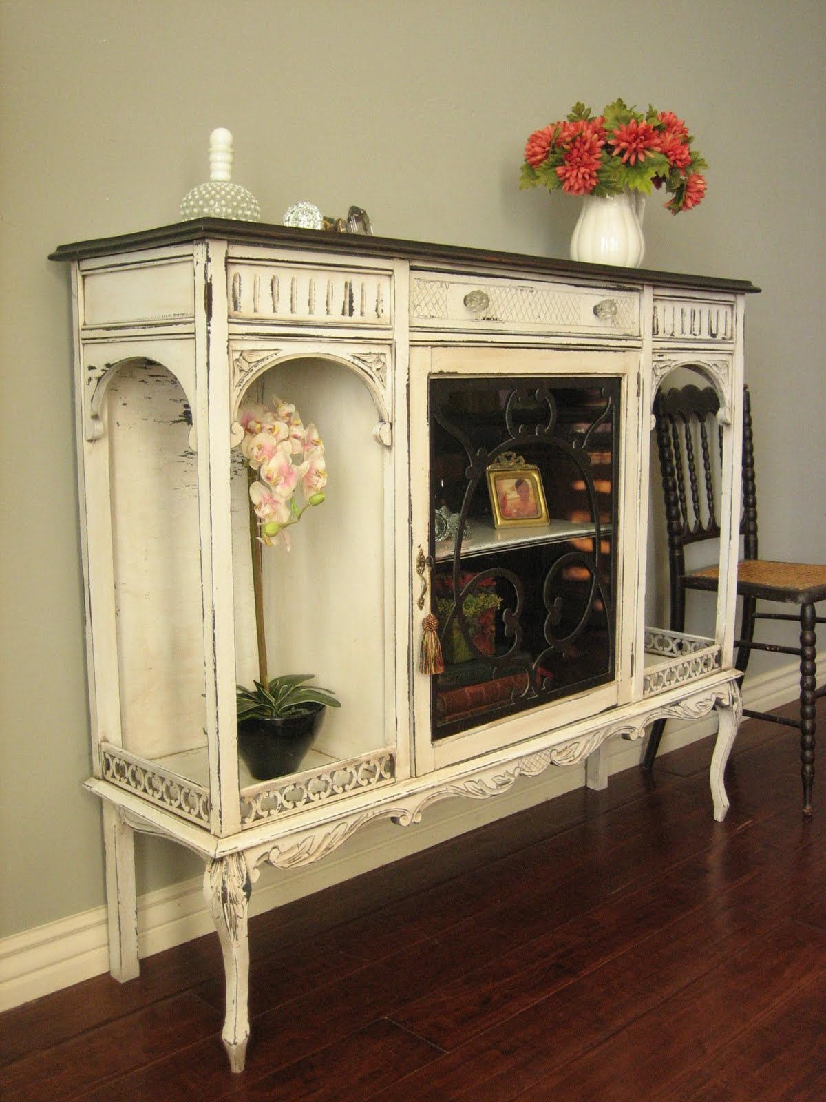 european paint finishes antique curio cabinet. Black Bedroom Furniture Sets. Home Design Ideas
