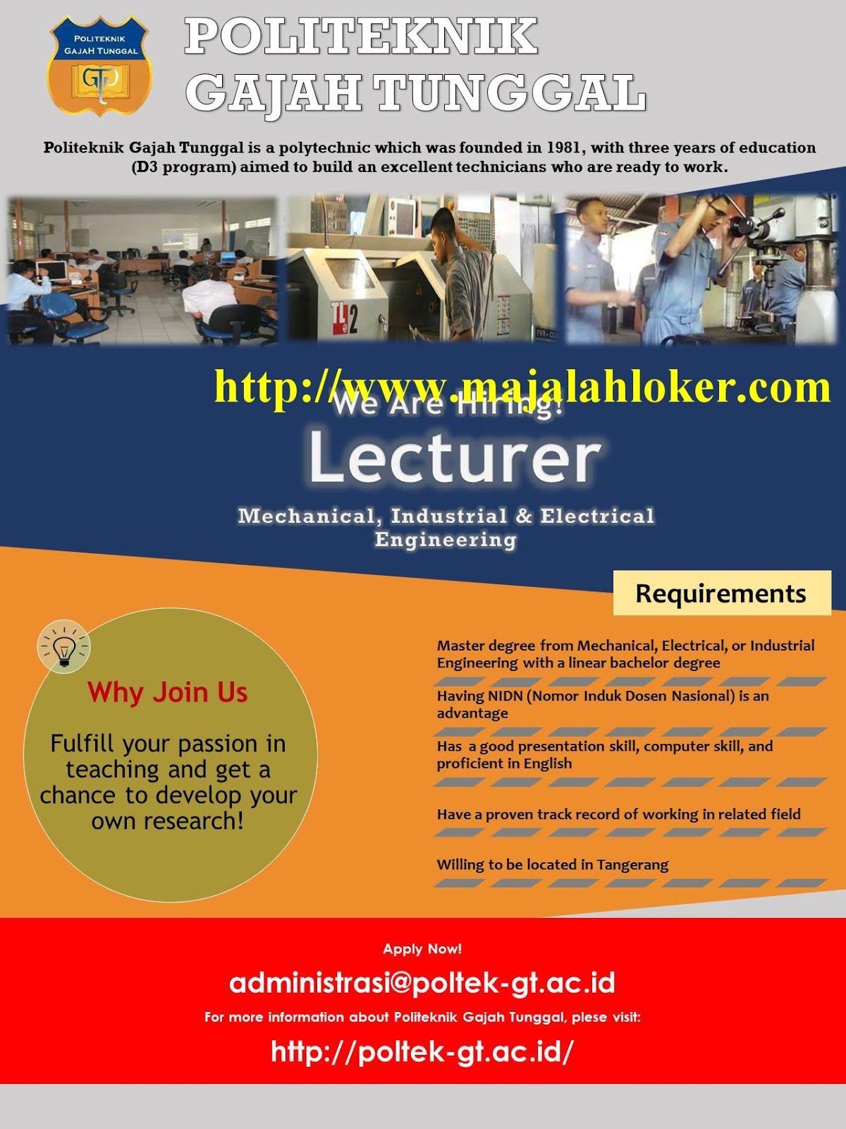 Lowongan Dosen Mecahnical, Industrial & Electrical Engineering Politeknik Gajah Tunggal (Poltek GT) Tangerang