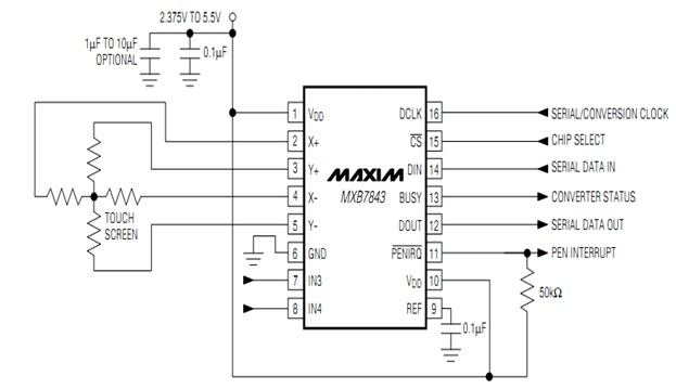 mxb7843 interfacing with microcontroller - block diagram
