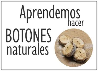 Botones con materiales naturales como cáscaras, huesos, ramas