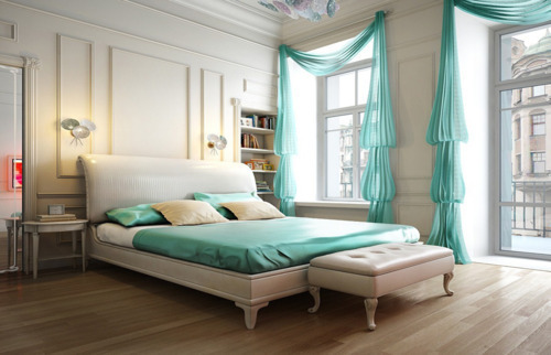 soft teal beautiful bedroom