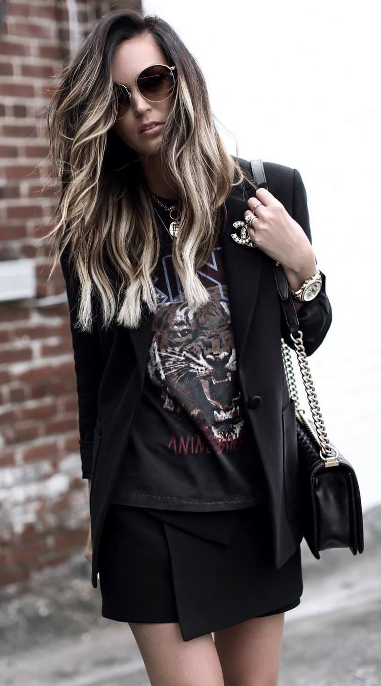 all black everything_blazer + bag + printed top + skirt