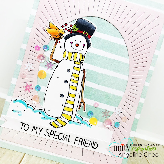 ScrappyScrappy: July Blog Hop with Unity Stamp - Snowman Sequins card #scrappyscrappy #unitystampco #tyoutube #quicktipvideo #card #cardmaking #craft #crafting #christmas #christmascard #katscrappiness #sequins #averyelle #ovalburstdie #snowman #copicmarkers