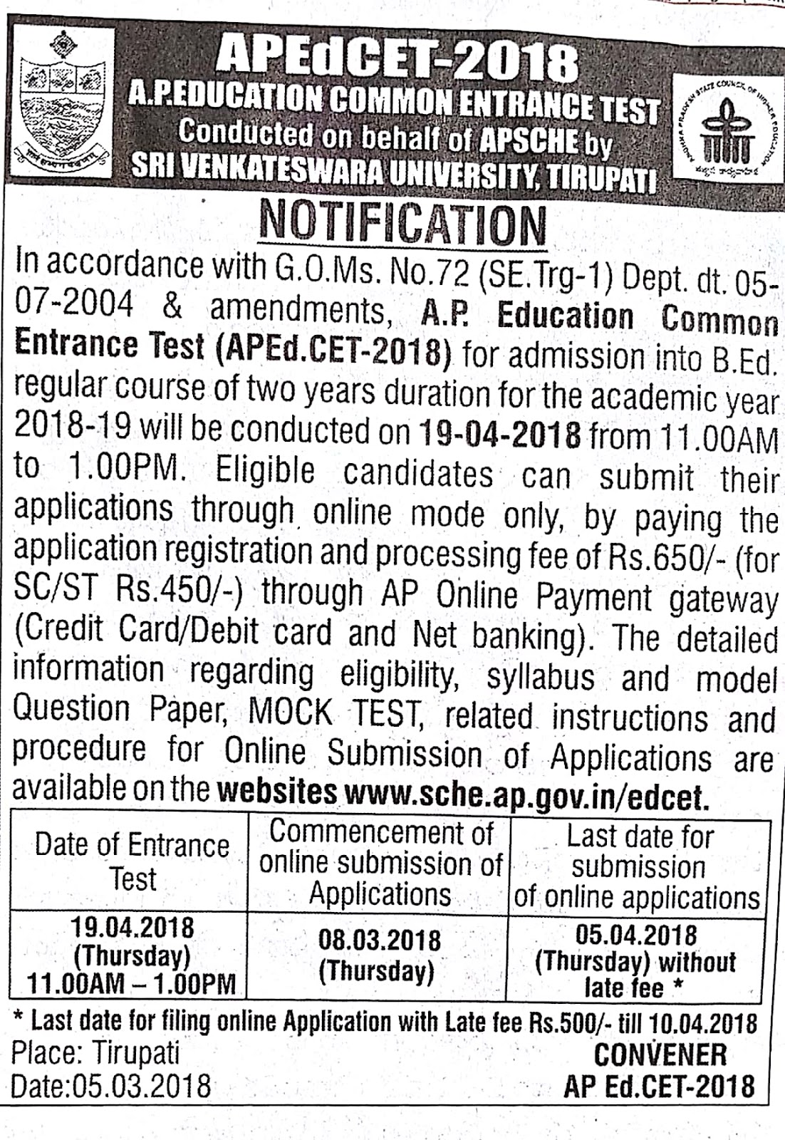 Andhra Pradesh Edcet Notification 2018