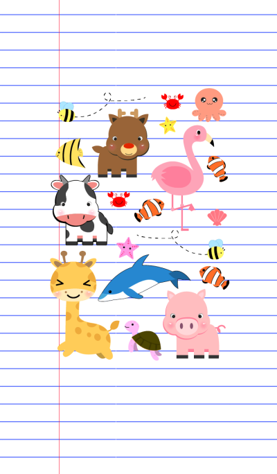 Cute Animals On Paper theme