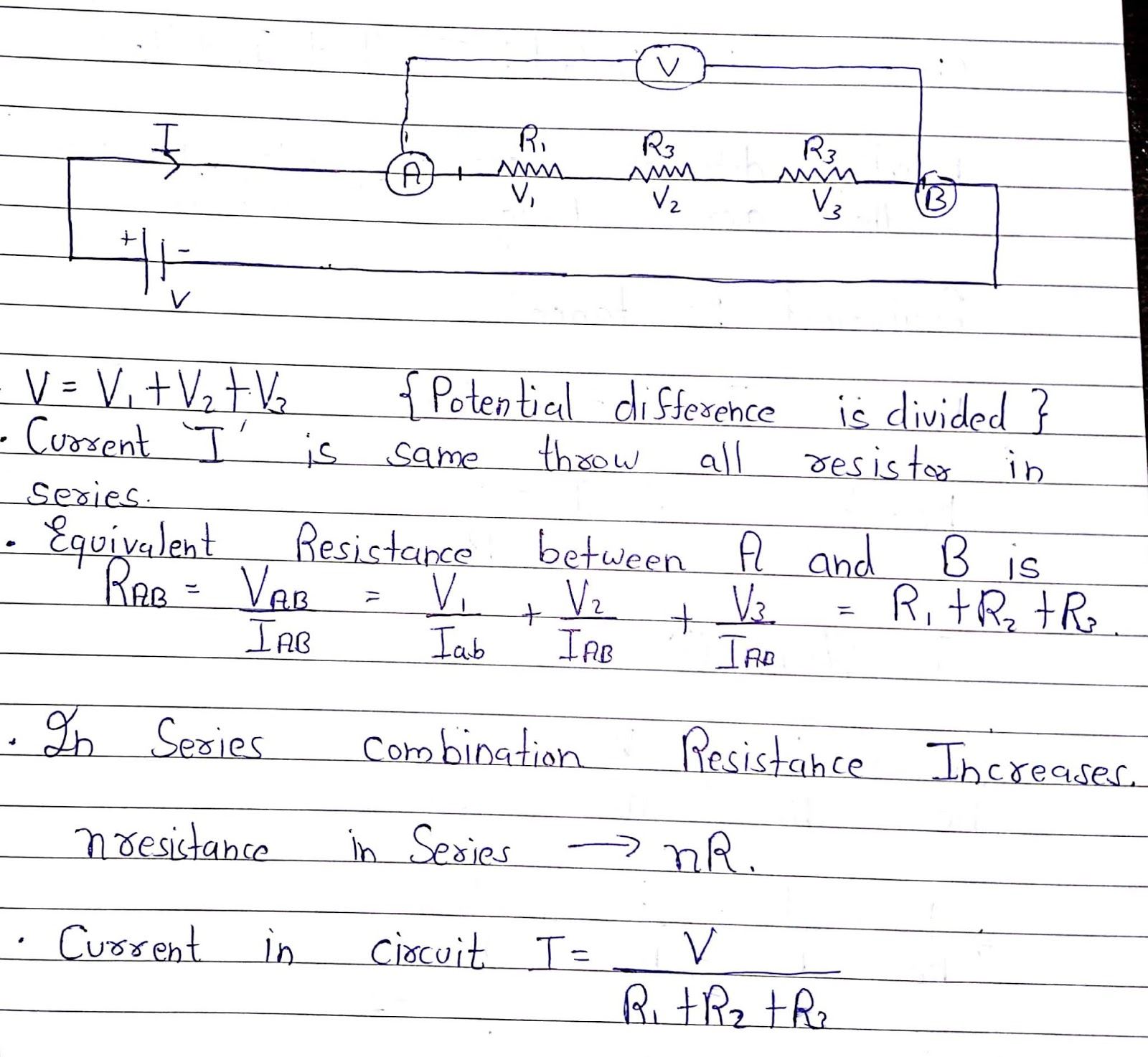 Physics Non Ohmic Behaviour And Combination Of Resistors From In A Series Circuit