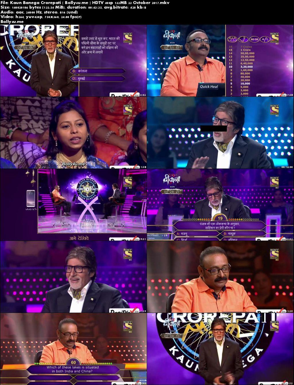 Kaun Banega Crorepati HDTV 480p 130MB 23 October 2017 Download
