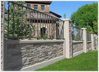 pagar minimalis batu alam klasik cantik