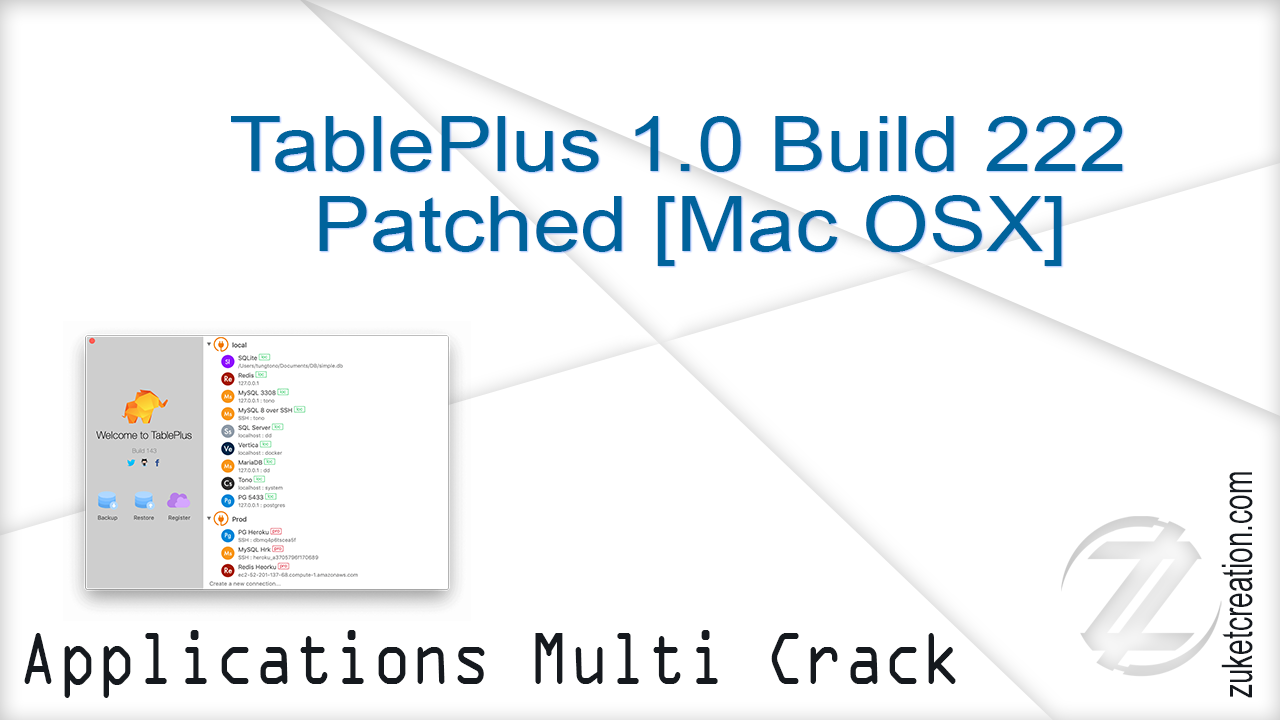 Aplikasi Terbaru: TablePlus 1 0 Build 222 Patched [Mac OSX