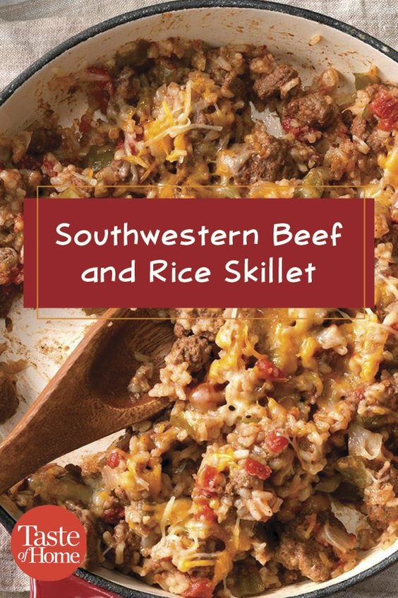 Southwestern Beef And Rice Skillet