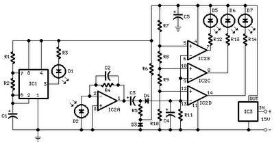 CAR PARKING SENSOR CIRCUIT USING INFRA-RED LED SCHEMATIC