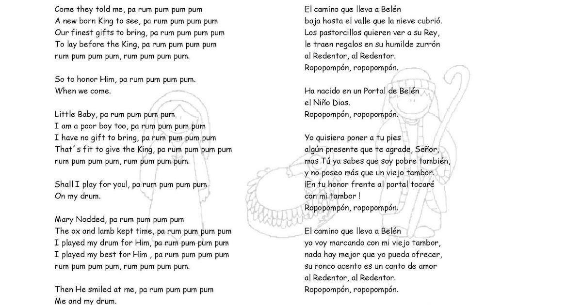 Letra de canciones de navidad el tamborilero