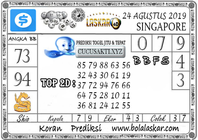 Prediksi Togel SINGAPORE LASKAR4D 24 AGUSTUS 2019
