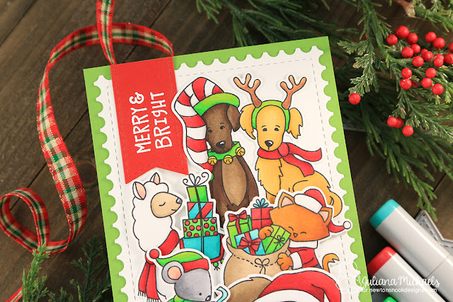 Merry and Bright Christmas Card by Juliana Michaels featuring Newton's Nook Designs