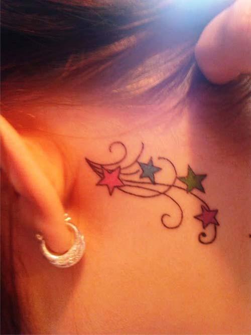 behin the ear colorful star tattoo kulak arkası renkli yıldız dövmesi