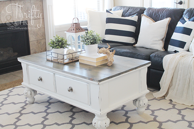 Farmhouse Style Coffee Table Makeover Before And After Thrifty And Chic Bloglovin