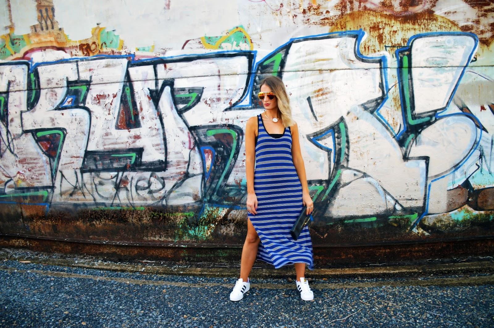 Graffiti wall cairns - Stripe Maxi Dress Style