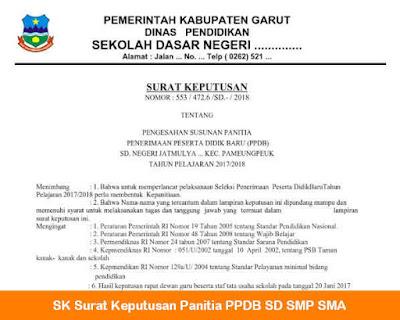 SK Panitia PPDB 2018 SD, SMP, SMA, SMK