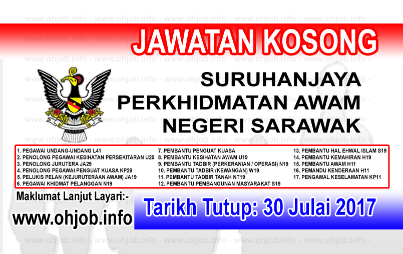 Jawatan Kerja Kosong Suruhanjaya Perkhidmatan Awam Negeri Sarawak logo www.ohjob.info julai 2017