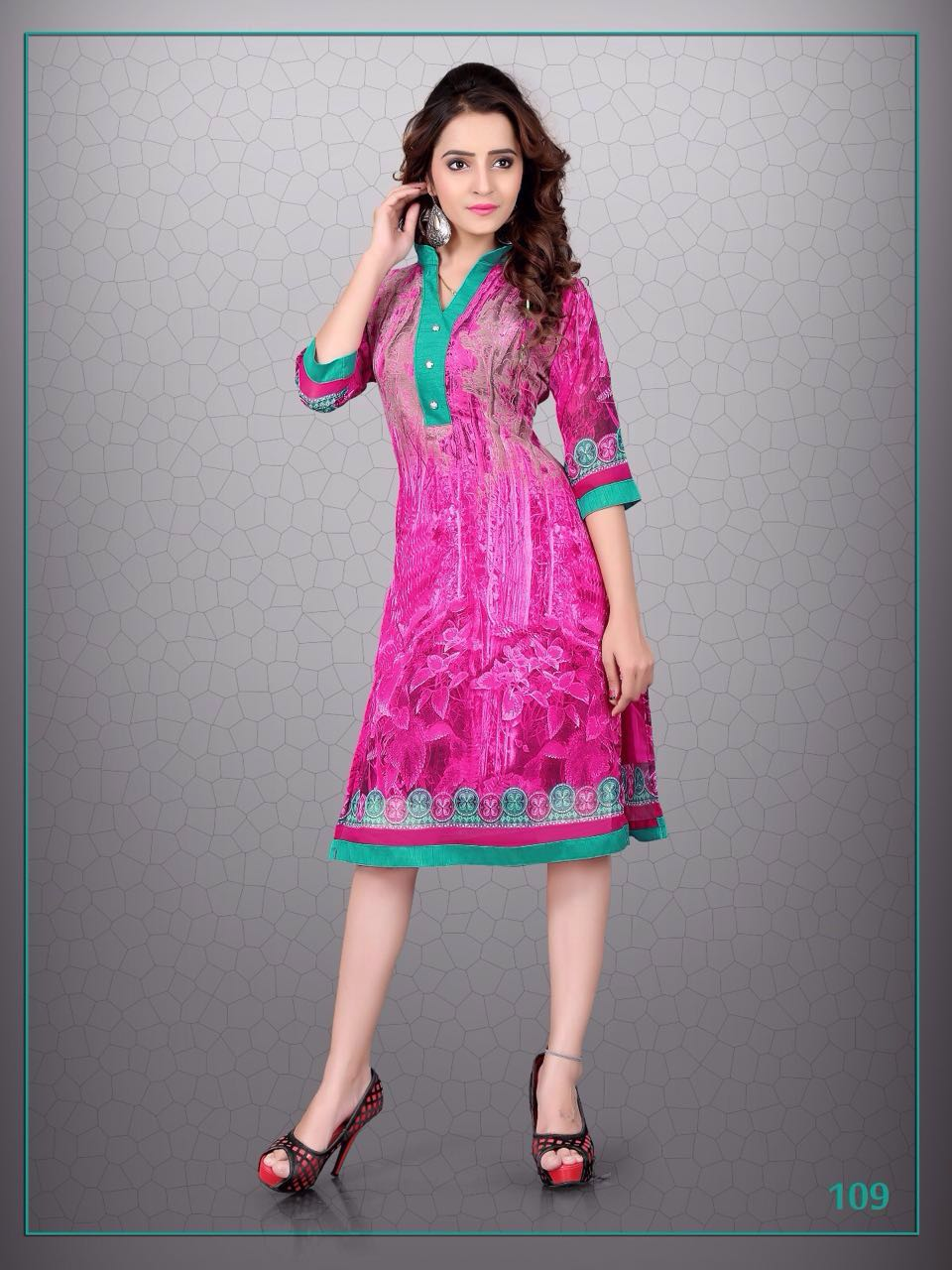 Beauty Queen-Stylish Looking  Chiffon Georgette Kurti
