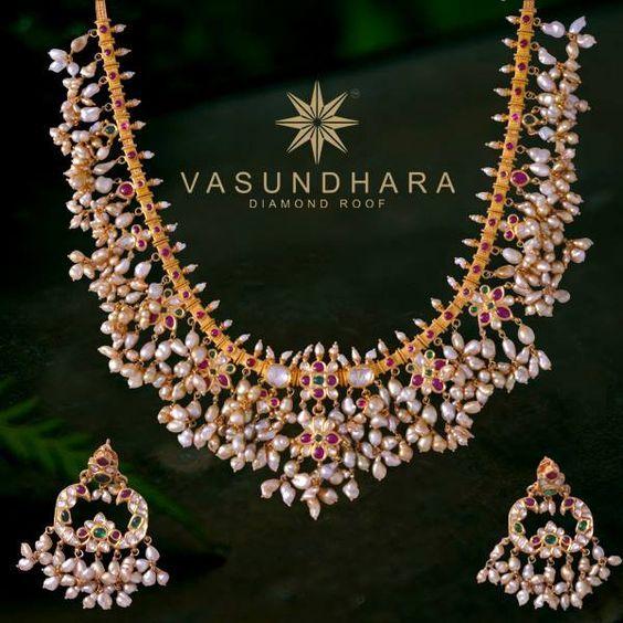 Heavy Guttapusalu Necklaces With Earrings Jewellery Designs