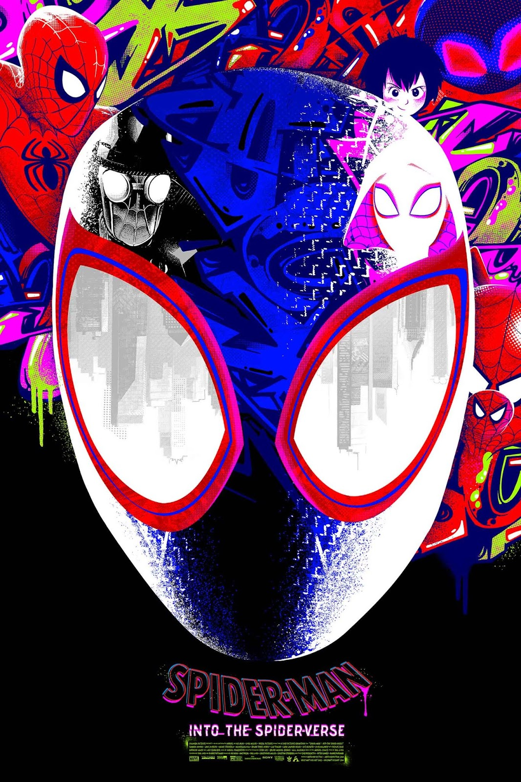 5e16a4955b Spider-Man  Into the Spider-Verse Movie Poster Screen Print by Anthony  Petrie x Grey Matter Art x Marvel