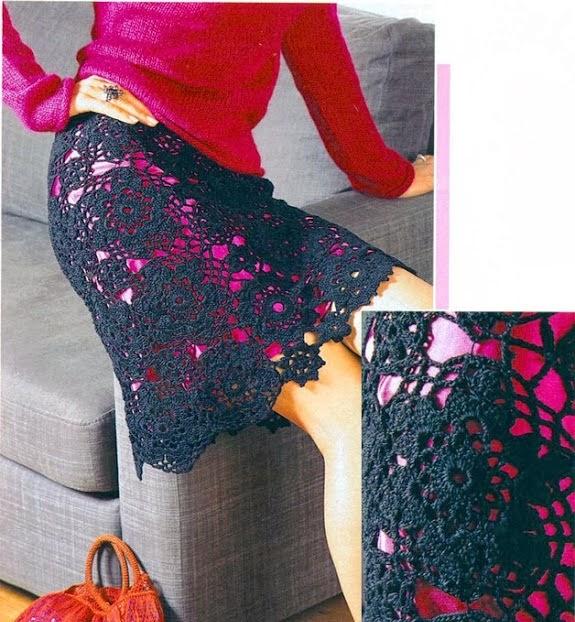Falda Negra con Circulos de Flores de Crochet