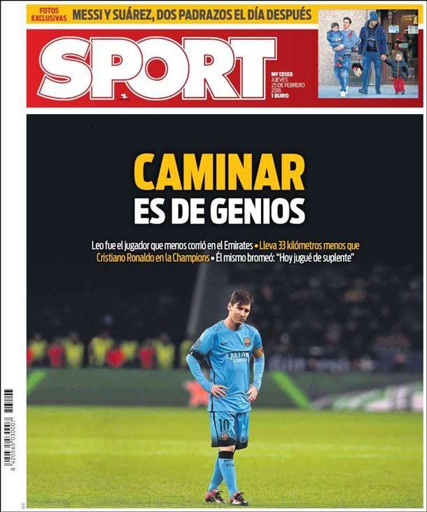 Portada del periódico Sport, jueves 25 de febrero de 2016