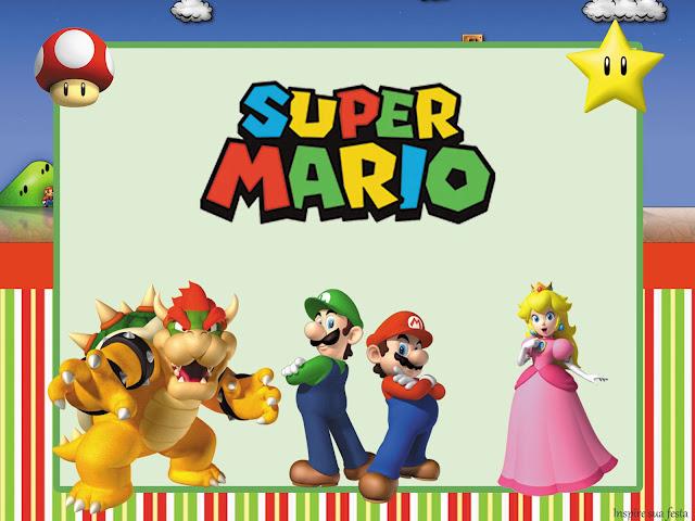 Para hacer Invitaciones, Tarjetas, Marcos de Fotos o Etiquetas de Fiesta de Super Mario Bros para Imprimir Gratis.