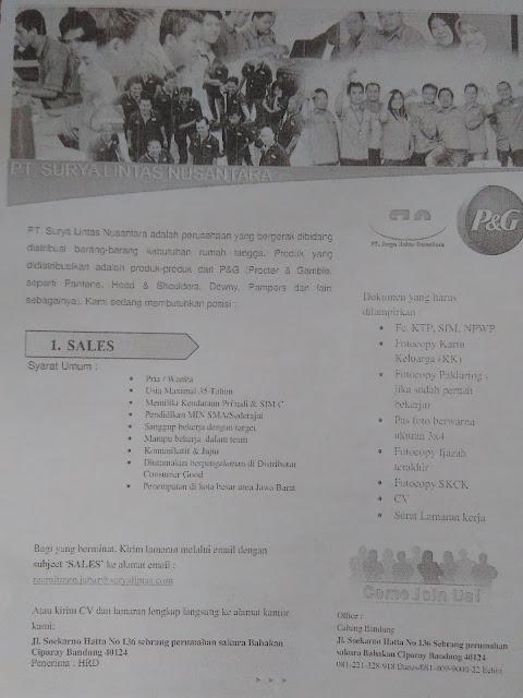 Lowongan Sales Produk P&G di Bandung