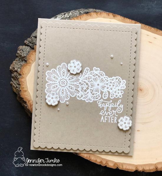 Lace Floral Wedding Card by Jennifer Timko | Wedding Frills Stamp Set & Frames & Flags Die Set by Newton's Nook Designs #newtonsnook #handmade