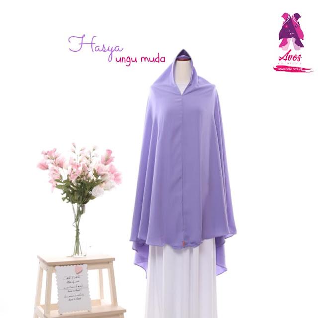 Khimar antem hasya wolpeach polos warna ungu muda